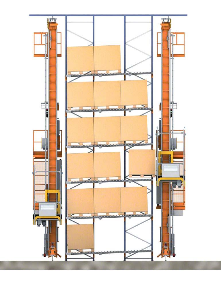 Estantes dinâmicas automatizadas com transelevadores