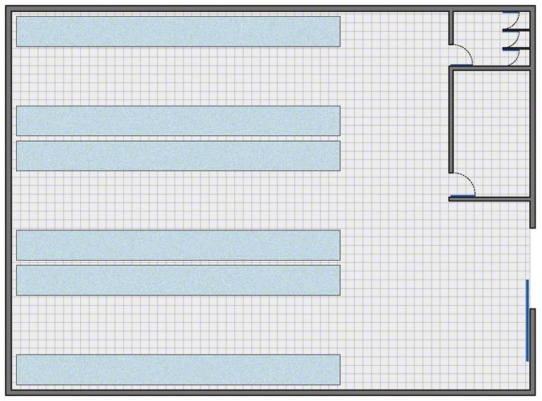 Armazém com a configuração mais simples: zona de armazenamento, zona de gestão, balneário e casa de banho para funcionários.