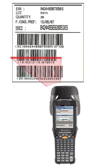 Exemplo de uma etiqueta com código de barras EAN-128, através do qual se identifica a palete, o produto que contém e as características do mesmo.