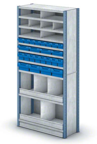 Estante com compartimentos de dimensões reduzidas