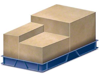 Um contentor onde são colocadas as caixas de embalagem enviadas pelo fornecedor.