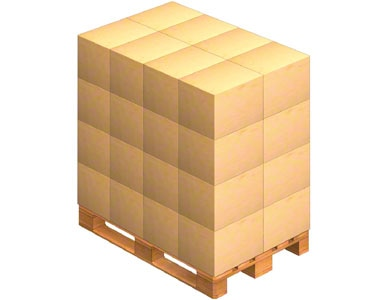 Uma palete onde são colocadas as caixas de embalagem enviadas pelo fornecedor. O fornecedor também pode enviar a mercadoria já paletizada (numa palete).