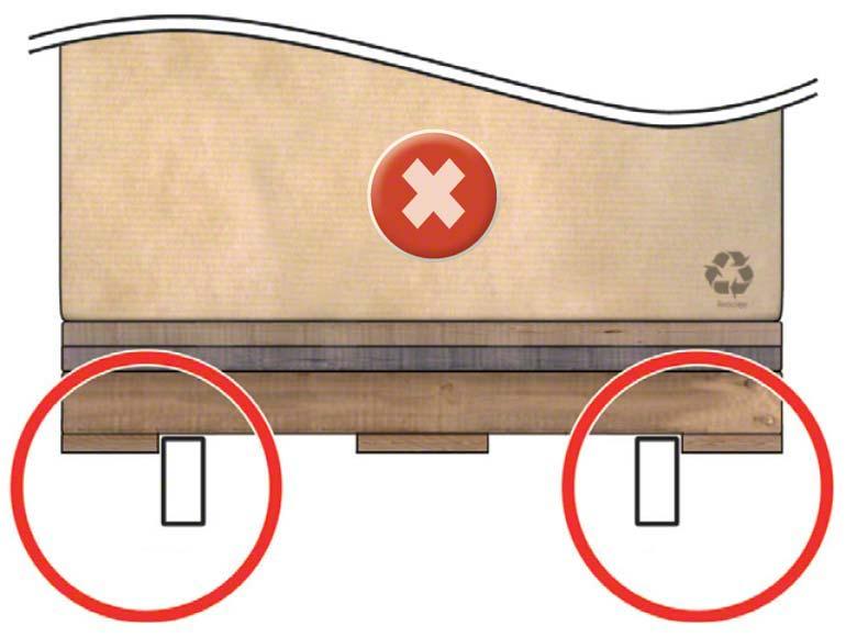 A viga está muito junto da tábua inferior e do empilhador e, ao recolher a palete, pode empurrá-la e deformar a viga