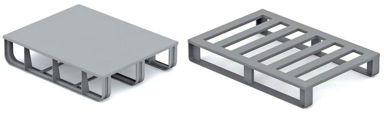 As paletes metálicas são usadas, sobretudo, na indústria metalúrgica e automóvel.
