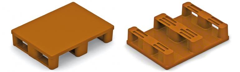 Esta é a meia palete de plástico. As precauções a adotar são iguais à das paletes de madeira. É preciso ter cuidado com a resistência da base inferior.