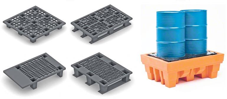 Diferentes modelos de paletes de plástico.
