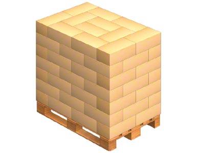 Carga de uma palete com caixas entrelaçadas