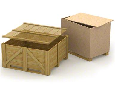 A base inferior dos contentores de madeira pode ser frágil e pouco resistente, pois costuma ser utilizada para um único envio, sem volta.