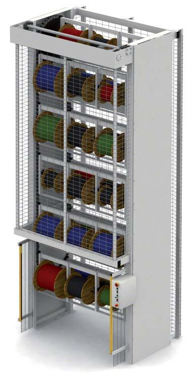 Sistema de armazenagem automática vertical para bobinas.