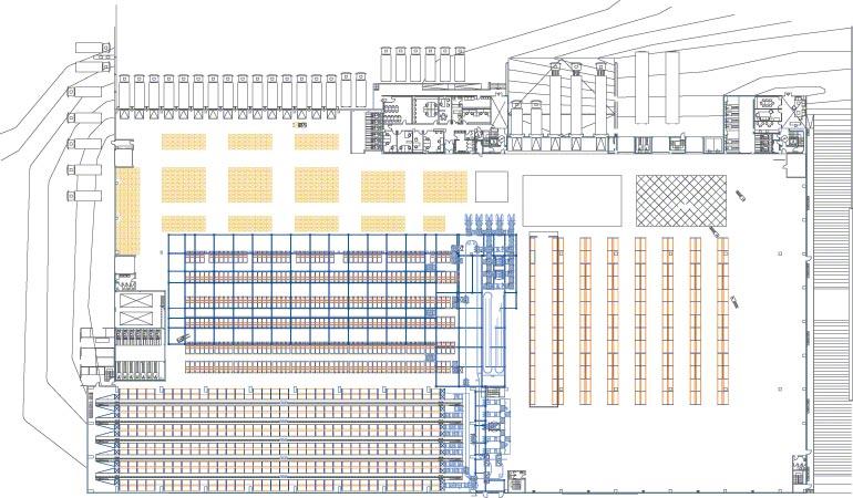 Esquema das diferentes seções de um armazém central