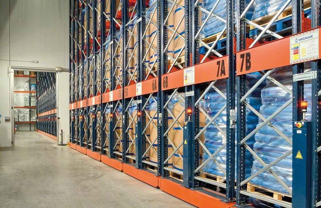 As estantes móveis Movirack conseguiram aumentar a capacidade do armazém frigorífico da Iberfresco