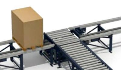 Transferir paletes entre rolos e correntes